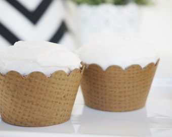 BURLAP Cupcake Wrappers - Set of 150