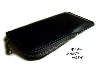 Leather iPhone 7 case pouch zipper -Black Leather Wallet -iPhone 4 5 6s pouch wallet -Galaxy s4 s5 s6 Edge s8 Plus-Google Pixel XL case