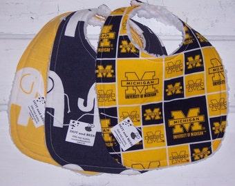 University of Michigan Baby Bib Set !  FREE SHIPPING!!!!!