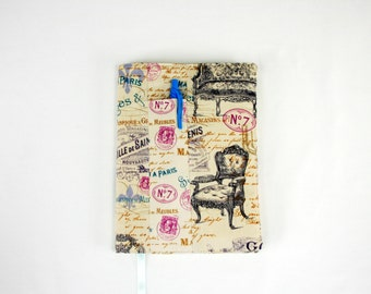 journal cover, book cover, French vintage chairs fabric notebook cover, sketchbook cover, girlfriend gift, gift for her
