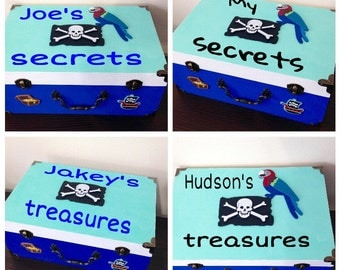 Pirate treasure box for boys gift pirate treasure chest pirate chest pirate keepsake box personalized blue box customized pirate themed box