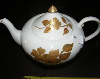 Royal Grafton Fine Bone China Teapot  White with Handpainted Gold Leaves