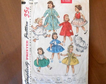 "Vintage Sweet Sue Doll Pattern Simplicity 1779 Wardrobe For 15"" Doll"
