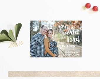 Joy to the World Christmas Card | Christmas Photo Card | Kids Christmas Card | Brush Script Christmas Card | Christmas Carol Card