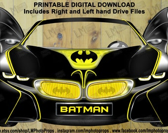 Batmobile BMW inspired Photo Booth Prop, Batman Prop, Batmobile Prop, Black BMW Cars, Batman Party Photobooth DIY Instant Download printable