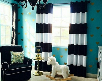 Amazing Curtains Ideas Black White Horizontal Striped Curtains