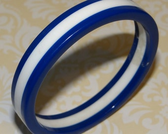 Navy Blue and White Stripe Bangle Bracelet Vintage Bangle Vintage Bracelet