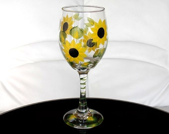Hand Painted Wine Glass Sunflowers Yellow Black Flowers Green Leaves Hand Painted Glassware Stemware Hand Painted Wine Glasses Painted Glass
