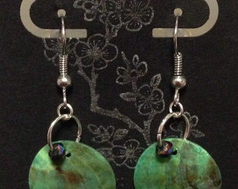 Teal Shell Disk Earrings with Crystal Beads