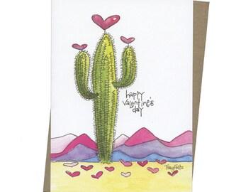 Saguaro Cactus Hearts Valentine greeting card