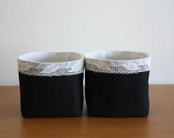 Two Fabric Storage Baskets
