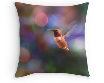 Bird Cushion, Colorful Cushion, Hummingbird Pillow, Bird Throw Pillow, Hummingbird Cushion, Nature Throw Pillow, Bokeh Pillow, Bokeh Cushion