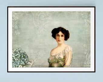 Forget Me Nots, Bohemian Decor, Victorian Decor, Victorian Print, Antique Photograph, Victorian Woman, Vintage Decor, Vintage Wall Art