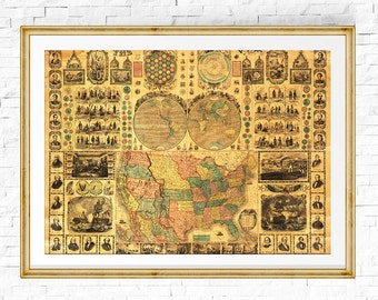 US Map Print, Map of USA, Vintage Map, USA Map, Map of the World, Retro Decor, Vintage Map, Map of United States, Old Maps,Map Decor,Map Art