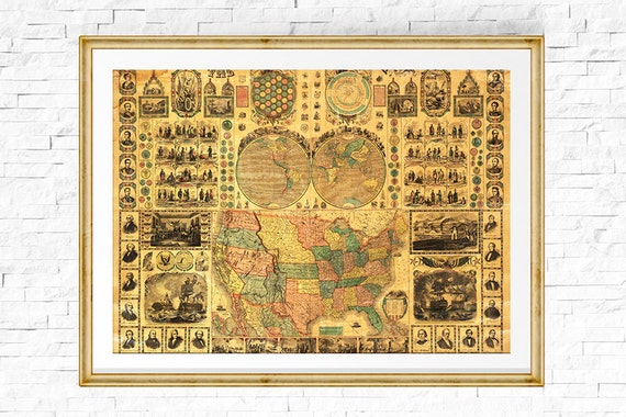 US Map Print Map Of USA Vintage Map USA Map Map Of The - Vintage map of us