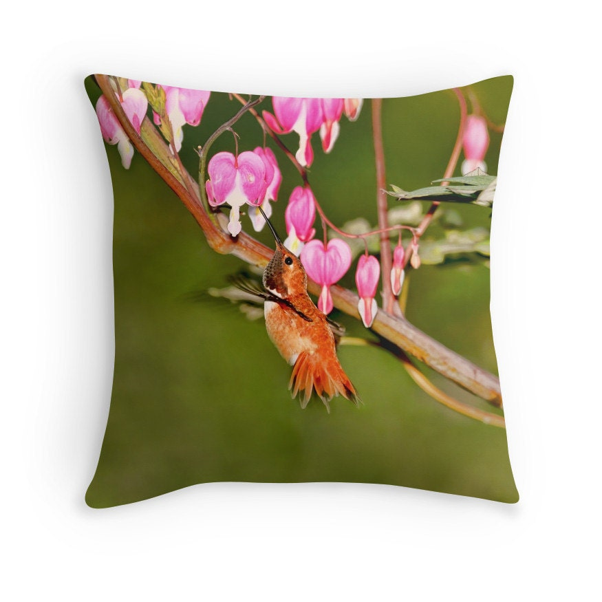 Humming bird pillow hummingbird decor bleeding hearts bird for Hummingbird decor