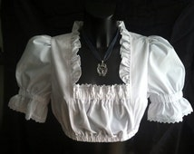"""white costumes Dirndl blouse with puffy sleeves Vintage Dirndl Top Dirndl blouse with ruffles """"Romantika"""""""