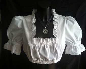 "white costumes Dirndl blouse with puffy sleeves Vintage Dirndl Top Dirndl blouse with ruffles ""Romantika"""