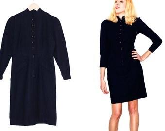 1940s vintage dress / Authentic handmade 40s dress / Dark blue dress