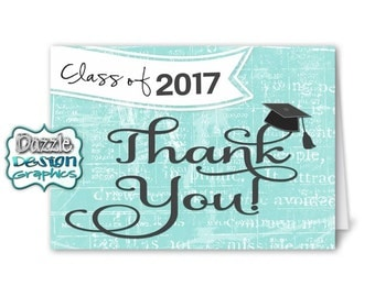 Graduation Class of 2017 THANK YOU notecard | M2M made to match, coordinating matching notecard, #035 Instant Download