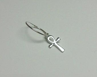 Men's Single 925 Sterling Silver Hoop and Ankh Cross Earring.