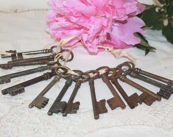 Antique Skeleton Key, Set of 2, Wrought iron Key, Late 1800s, French Rustic, Country Home Decor, Castle Decor, Wedding Table Decor
