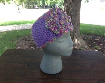 Purple Headband | Purple Headwarmer | Purple Earwarmer | Flower Headband | Flower Earwarmer | Button Earwarmer | Button Headband