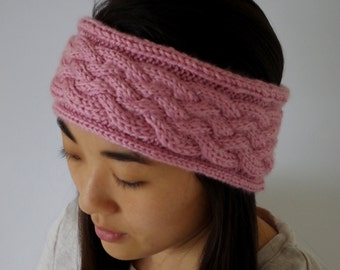 Dusty Rose Hand-knit Braid-weave Headband
