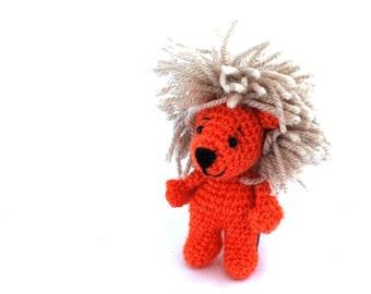 miniature lion, crochet lion doll, plushie lion toy, softie little toy, stuffed lion, lion mascot, lion cabala, pocket lion doll, little toy