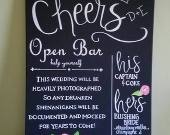Wedding Bar Sign, Wedding Bar Menu, Personalized Wedding Bar Sign, Hand Lettered Calligraphy, Bar Event Sign, Signature Drink Menu