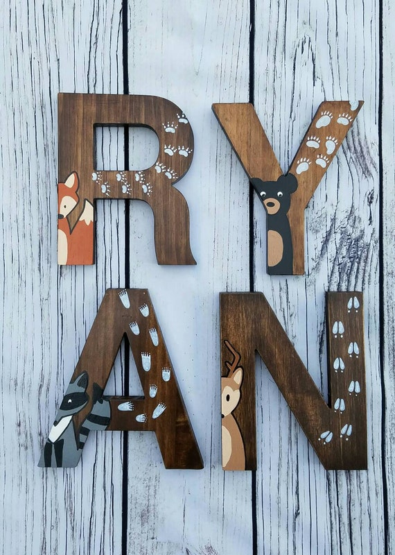 Wooden letters for nursery woodland nursery decor by for Standing wood letters to paint