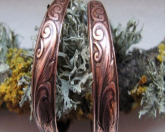 Copper Hoop Earrings CE080 - 1 inch in diameter