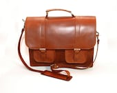 "Men's Leather Flapover Briefcase - ""Cinnamon"" Brown Genuine Cow Leather"