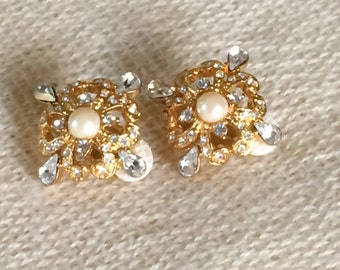Reduced! Joan Rivers styled QVC faux pearl crystal rhinestone wedding clip on earrings Ships Free!