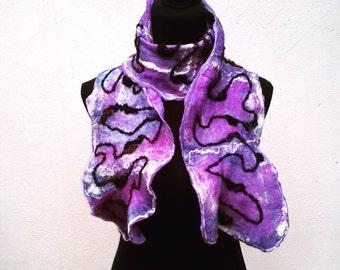 Purple Cobweb Felt Scarf
