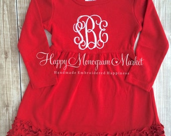 Monogrammed Valentine Dress. Red Ruffle with monogram for baby girl toddler little girl Cute Christmas Holiday outfit Embroidered