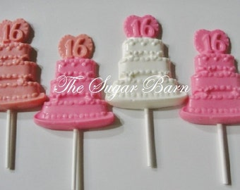 SWEET SIXTEEN CAKE Chocolate Lollipop*12 Count*16th Birthday*Sweet 16 Favor*16th Birthday Favor*16 Chocolate Pop*16th Anniversary
