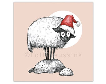Irish Christmas card, Connemara sheep, quirky cute Xmas illustration, prints illustrations, winter Holiday art card, original Christmas card