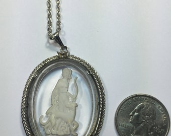 Avon Victorian Lady and Dog etched Glass Pendant Necklace
