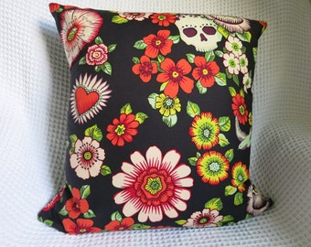 Goth, skeleton cushion cover.  Hand made. Alexander Henry fabric.