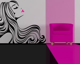 Beautiful Woman Silhouette With Long Wavy Flowing Haïr Removable Wall Décor Decal Sticker
