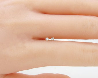 14k yellow/white gold with 0.06ct  solitaire natural diamond stud pair of earrings