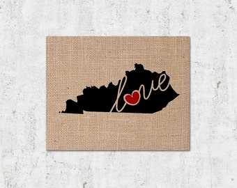 """Kentucky (KY) """"Love"""" or """"Home"""" Burlap or Canvas Paper State Silhouette Wall Art Print / Home Decor (Free Shipping)"""