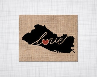 El Salvador Love - Burlap or Canvas Paper State Silhouette Wall Art Print / Home Decor (Free Shipping)