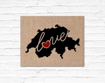 Switzerland Love - Burlap or Canvas Paper State Silhouette Wall Art Print / Home Decor (Free Shipping)