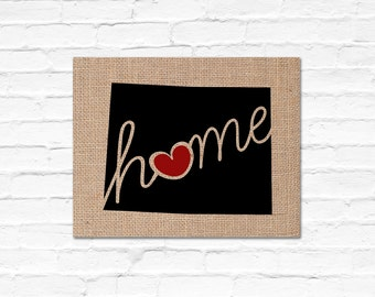 "Wyoming (WY) ""Love"" or ""Home"" Burlap or Canvas Paper State Silhouette Wall Art Print / Home Decor (Free Shipping)"