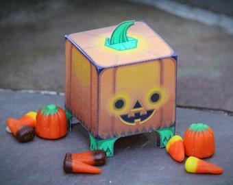 ORANGE PUNKIN PET  --  Decoration or Halloween Favor / Treat Box