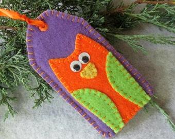 Purple Wool Felt Orange Owl Tag Ornament