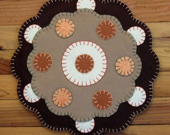 Wool Felt & Cork Trivet Table Mat In Earthtones