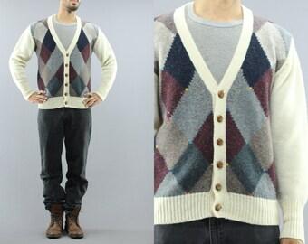 Argyle Wool Button Up Cardigan Sweater / Jumper By Allen Solly Men's Size Medium 90's Vintage